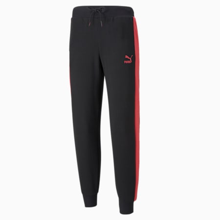 Iconic T7 Regular Fit Women's Track Pants, Puma Black-Paradise Pink, small-IND