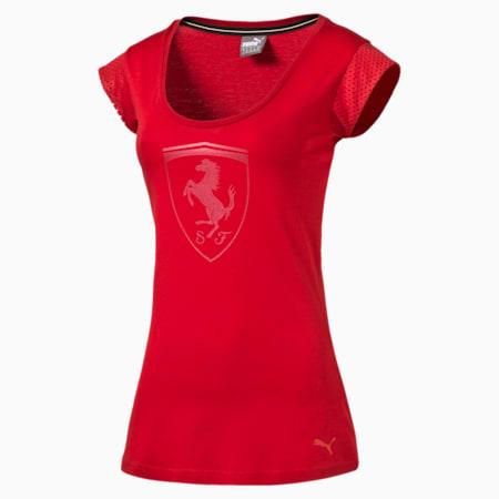 Ferrari Women's Big Shield T-Shirt, rosso corsa, small-SEA