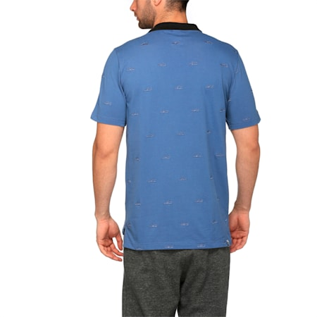 Men's Suede Embroidery Polo, Bijou Blue, small-IND