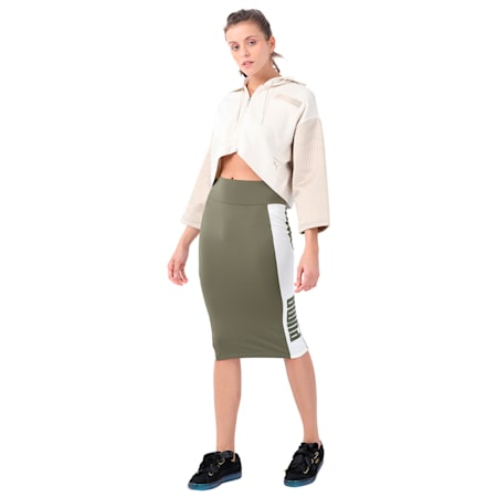 Women's Archive Logo Pencil Skirt, Olive Night, small-IND