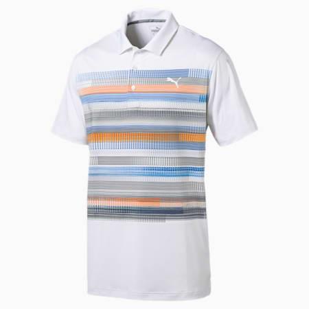 Golf Men's Pixel Polo, bright white-vibrant orange, small-SEA