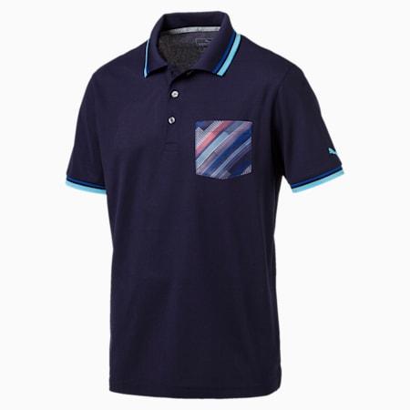 Golf Men's Tailored Pixel Pocket Polo, Peacoat, small-SEA