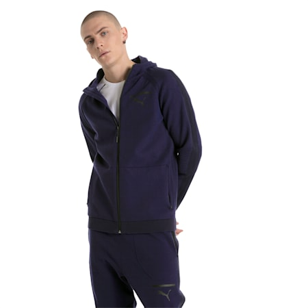 Evolution Men's evoKNIT Full Zip Hoodie, Peacoat, small-IND