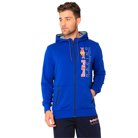 Red Bull Racing Lifestyle Men's Hooded Sweat Jacket, Sodalite Blue, small-IND