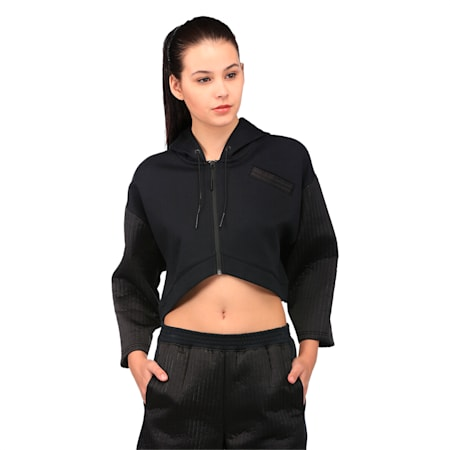 Evolution Women's Quilted Full Zip Hoodie, Puma Black, small-IND