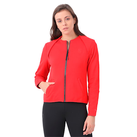 Ferrari Lifestyle Women's T7 Sweat Jacket, Rosso Corsa, small-IND