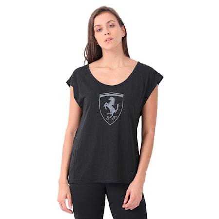 Ferrari Lifestyle Women's Big Shield T-Shirt, Moonless Night, small-IND