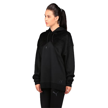 Archive Women's Fabric Block Oversized Hoodie, Puma Black, small-IND