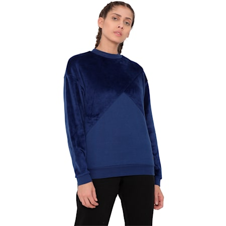 Archive Women's Fabric Block Sweater, Blue Depths, small-IND