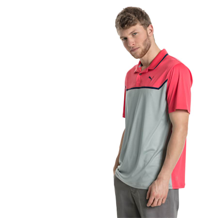 Golf Men's Bonded Tech Polo, Paradise Pink-Quarry, small-SEA