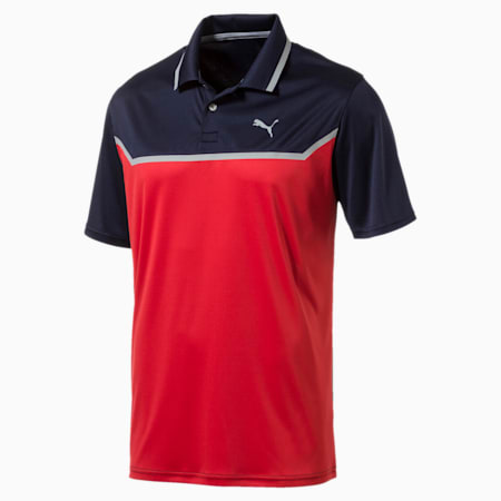 Golf Men's Bonded Tech Polo, Peacoat-High Risk Red, small-SEA