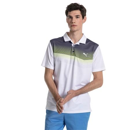 Golf Men's Road Map Polo, bright white-Acid Lime, small-SEA