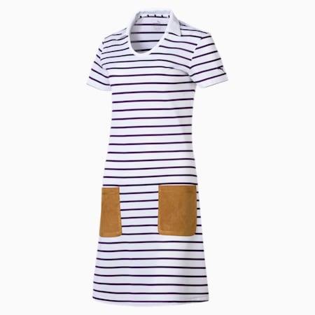 Golf Women's Dress, bright white-indigo-stripe, small-SEA