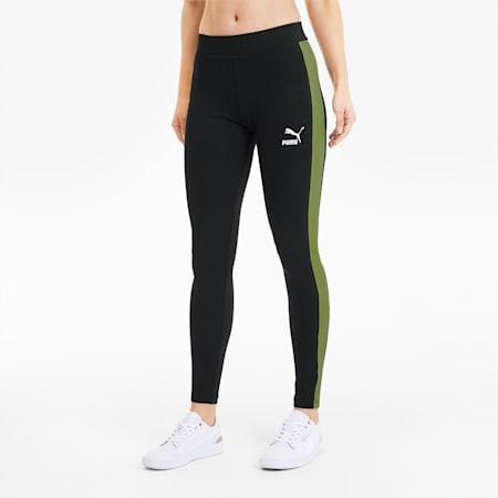 Classics Logo T7 Women's Leggings, Puma Black-Sunny Lime, small-GBR