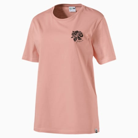 Women's Graphic T-shirt, Peach Beige, small-IND