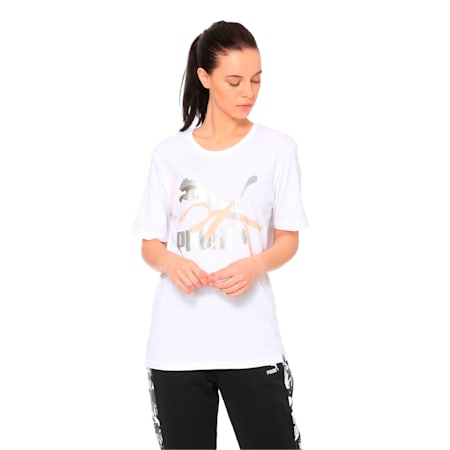 Women's Graphic T-shirt, Puma White, small-IND
