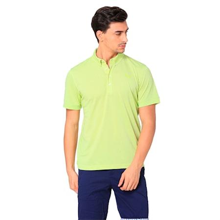 Golf Men's Tailored Oxford Heather Polo, Acid Lime Heather, small-SEA
