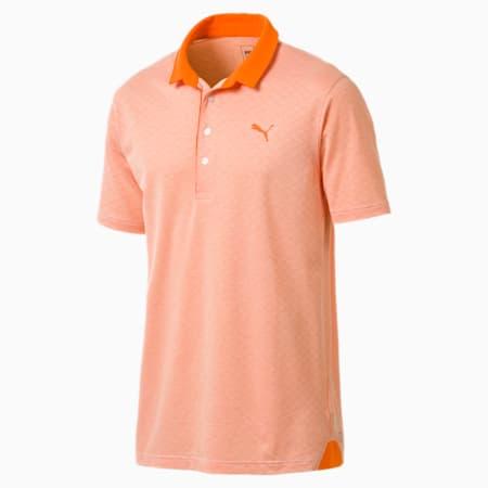 Golf Men's Diamond Jacquard Polo, Vibrant Orange Heather, small-SEA
