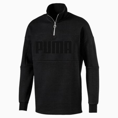 Retro Quarter Zip Turtleneck Men's Pullover, Puma Black-2, small