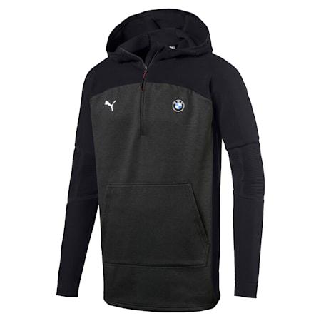 BMW MMS evoKNIT Quarter Zip Hooded Men's Pullover, Puma Black Heather, small