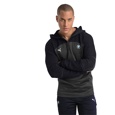 BMW MMS evoKNIT Quarter Zip Hooded Men's Pullover, Puma Black Heather, small