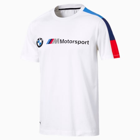 BMW M dryCELL Motorsport Men's T7 T-Shirt, Puma White, small-IND