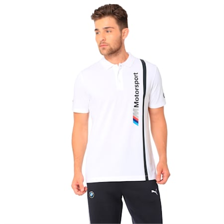 BMW M Motorsport Men's Polo, Puma White, small-IND
