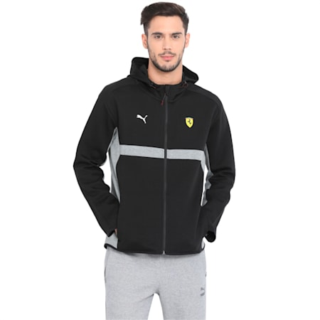 Ferrari Men's Hooded Sweat Jacket, Puma Black, small-IND