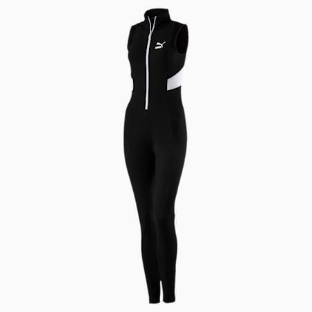 Retro Rib Overall Jumpsuit, Puma Black, small