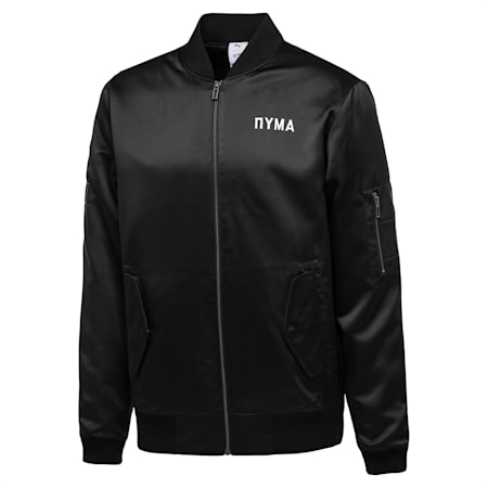 PUMA x OUTLAW MOSCOW Zip-Up Men's Bomber Jacket, Puma Black, small