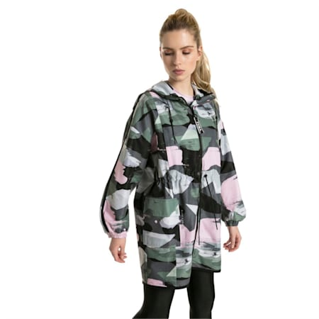 Chase AOP Zip-Up Hooded Women's Parka, Iron Gate, small-IND