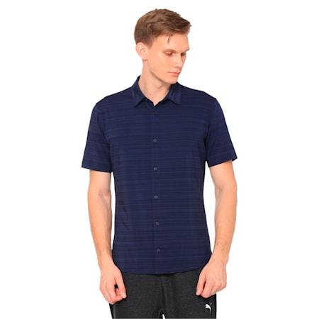 Breezer Short Sleeve Men's Golf Shirt, Peacoat, small-IND