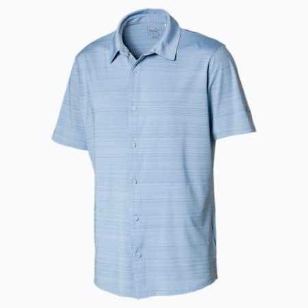 Breezer Short Sleeve Men's Golf Shirt, Ashley Blue, small-SEA