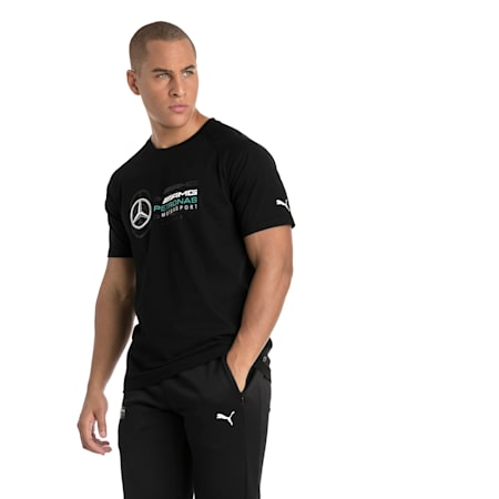 MERCEDES AMG PETRONAS Men's Logo T-Shirt, Puma Black, small