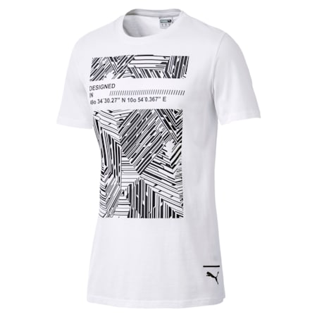Graphic Pace Tee Box Cotton Black, Puma White, small-IND
