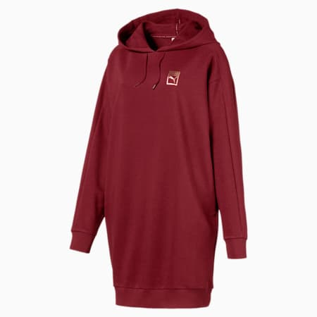 T7 Chains Hooded Women's Dress, Pomegranate, small