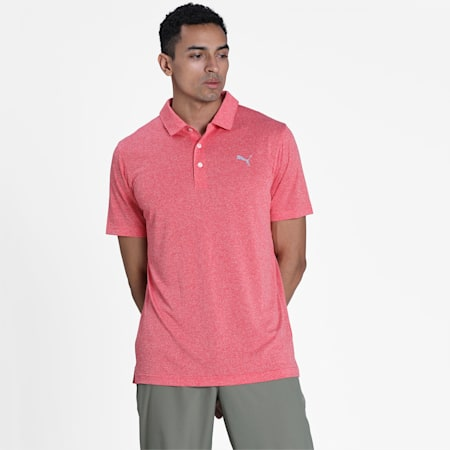 Performance Heather Men's Golf Polo, High Risk Red Heather, small-IND