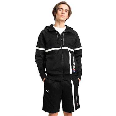 BMW M Motorsport Hooded Men's Sweat Jacket, Puma Black, small-SEA