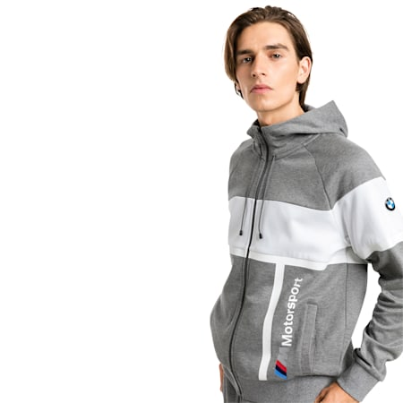 BMW M Motorsport Hooded Men's Sweat Jacket, Medium Gray Heather, small-SEA