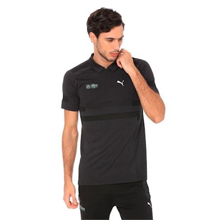 MERCEDES AMG PETRONAS evoKNIT Men's Polo Shirt, Puma Black, small-IND