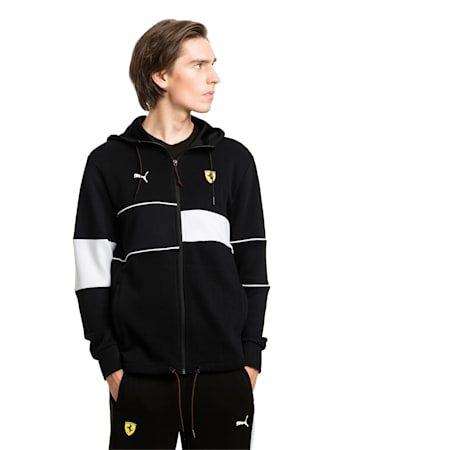 Ferrari Hooded Zip-Up Men's Jacket, Puma Black, small-SEA