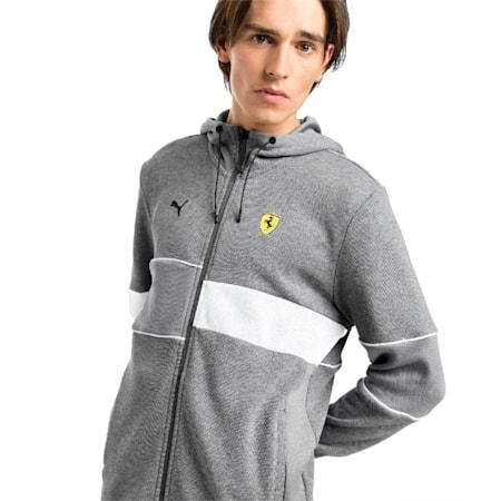 Scuderia Ferrari Men's Hooded Sweat Jacket, Medium Gray Heather, small