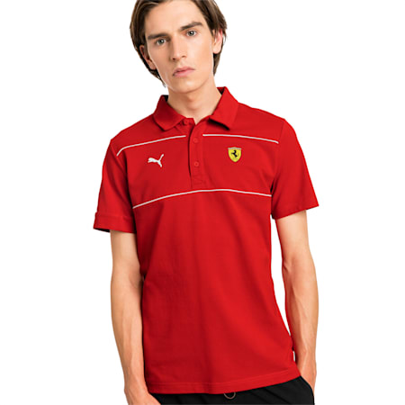 Ferrari Men's Branded Polo Shirt, Rosso Corsa, small-SEA