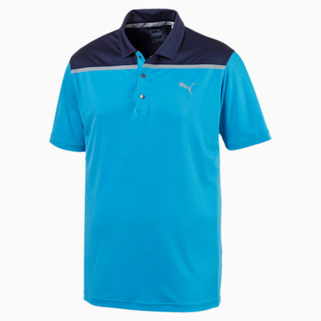 Bonded Colorblock Polo, Bleu Azur, small-IND