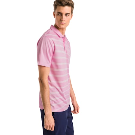 AlterKnit Prismatic Men's Golf Polo, Pale Pink Heather, small-SEA