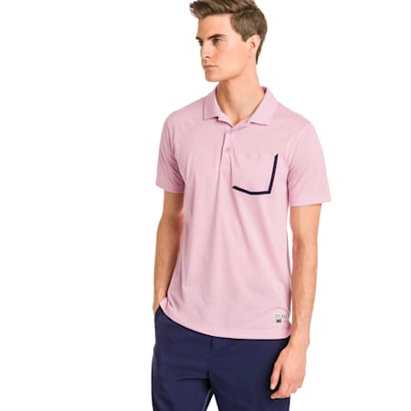 Faraday Men's Golf Polo, Pale Pink, small-SEA