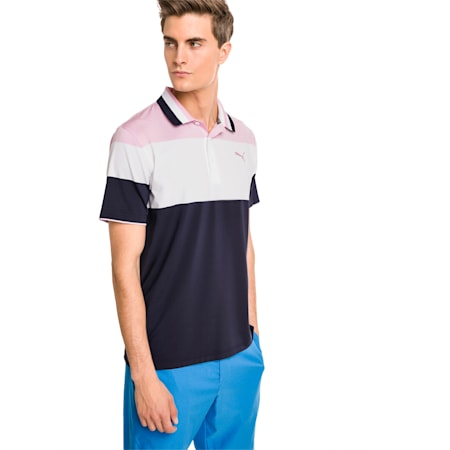 Nineties Men's Golf Polo, Pale Pink, small-SEA