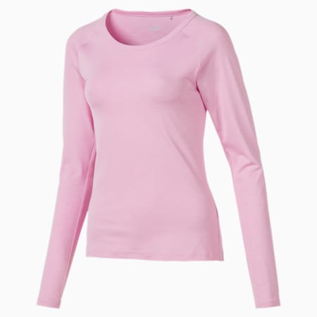 Sun Long Sleeve Crew Neck Women's Golf Tee, Pale Pink, small-SEA