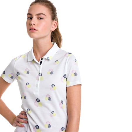 Blossom Women's Golf Polo, bright white-Pale Pink, small-SEA
