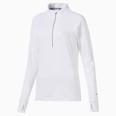Pullover da golf con zip a 1/4 Rotation donna, Bright White, small